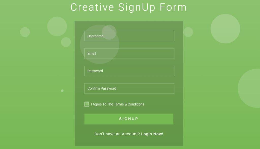 Creative Bootstrap registration form