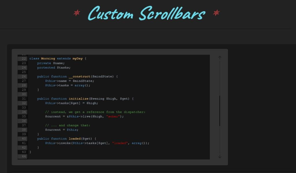 Bootstrap custom scrollbar example