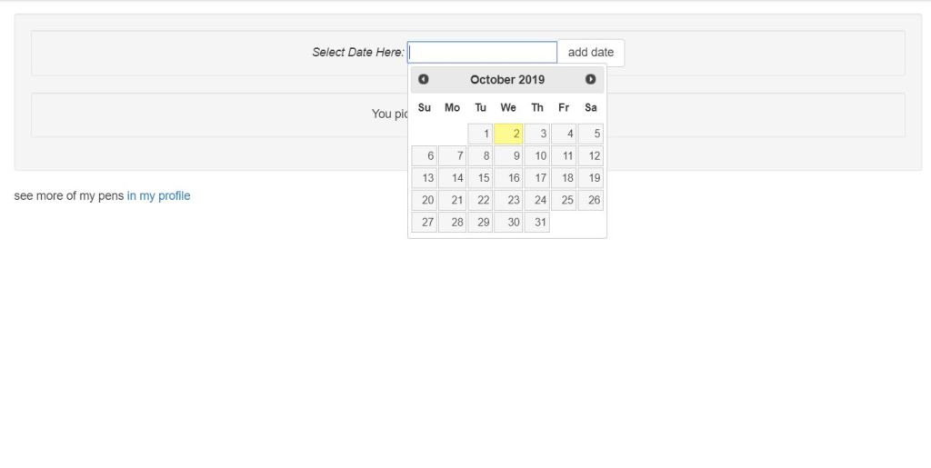 datepicker Pure CSS Examples