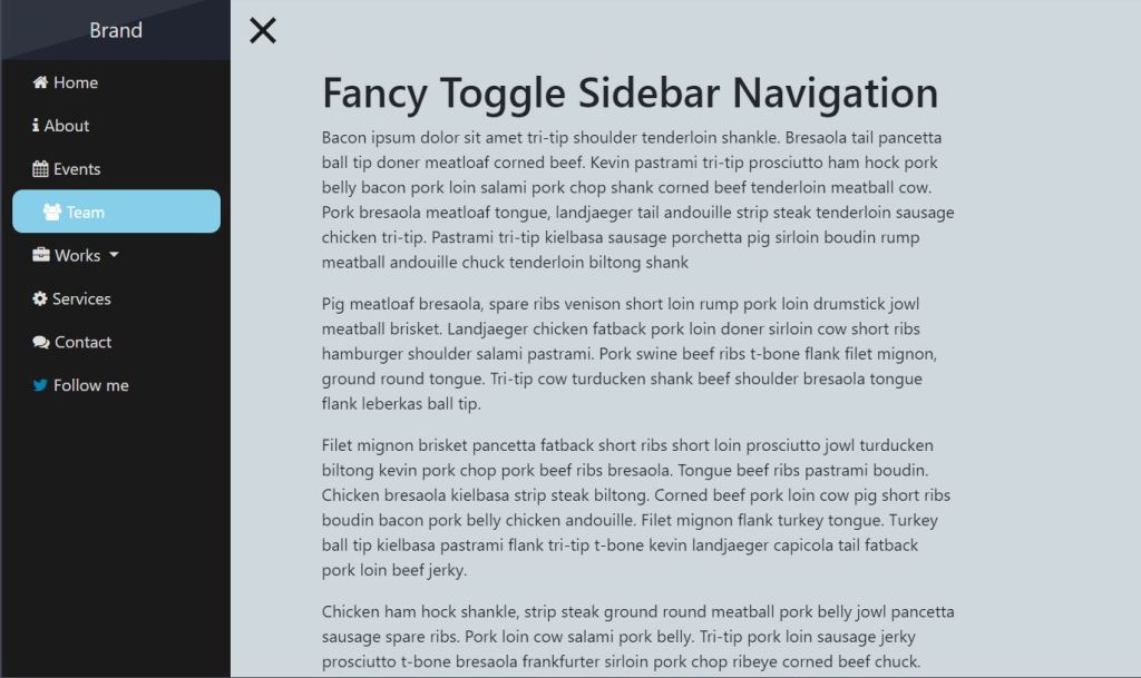 Fancy Toggle Side navbar Bootstrap