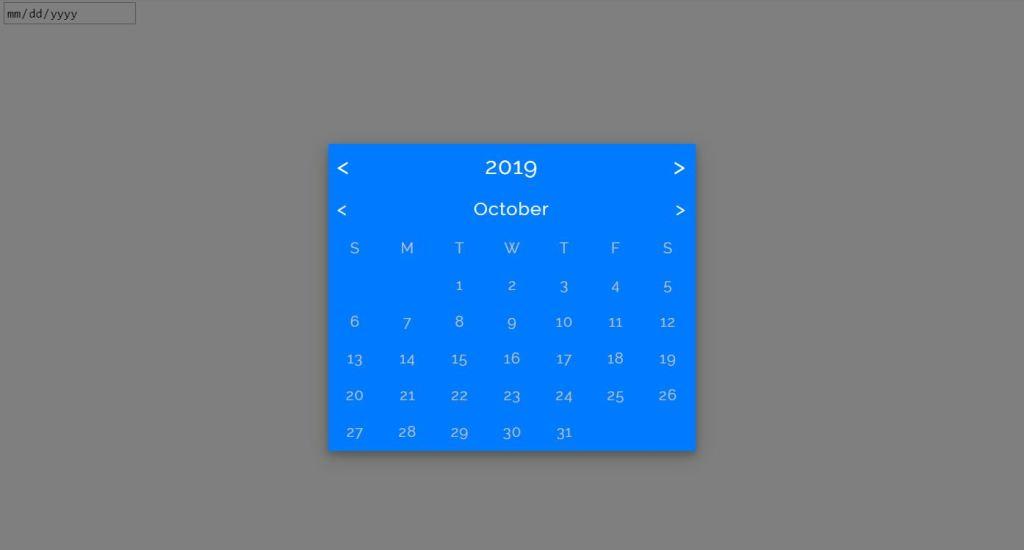 Flat datepicker Pure CSS