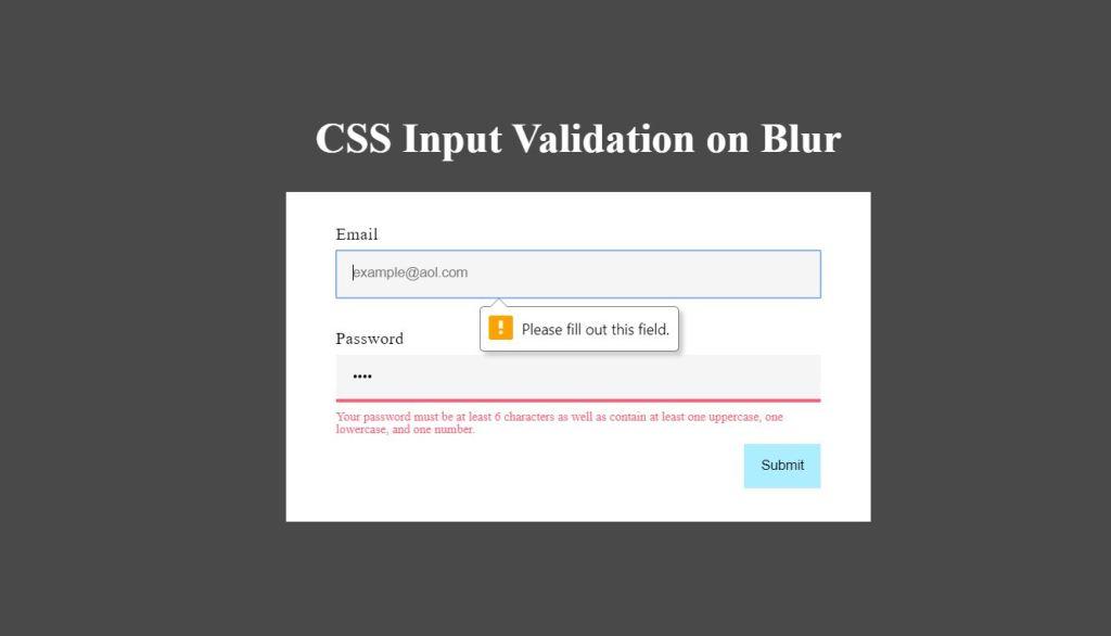 CSS Input Validation on Blur