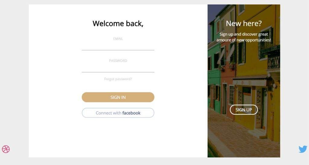 Bootstrap login form Page transition