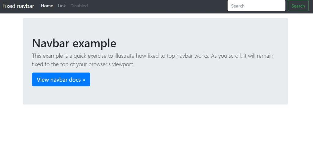 Bootstrap 4: Navbar (Fixed)