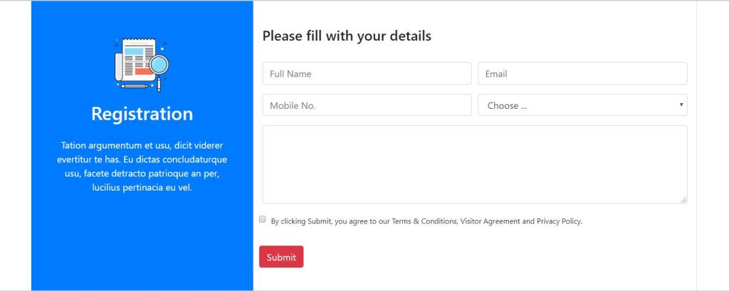 Bootstrap registration form template