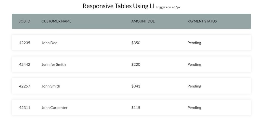 bootstrap datatable examples LI