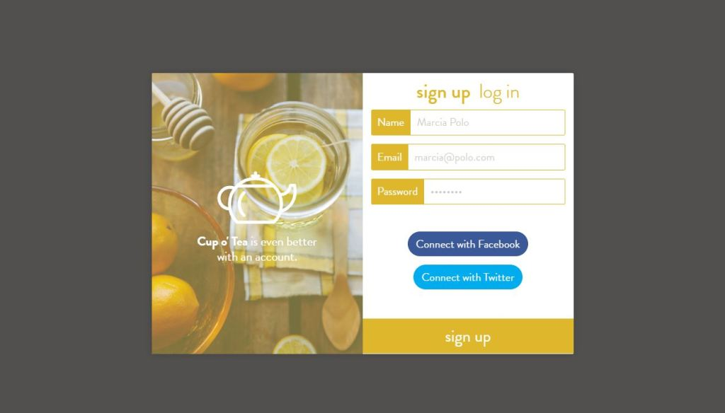 Sign Up Design Examples