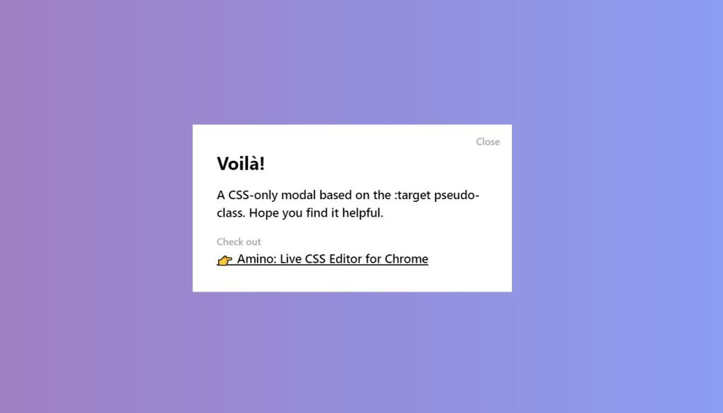 Basic CSS-Only Modal