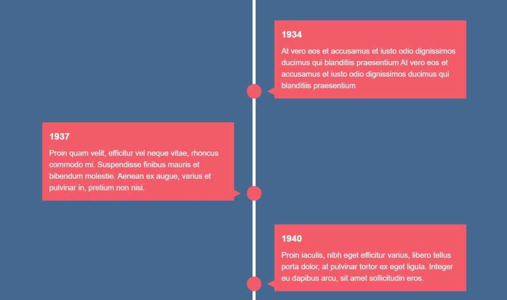 Vertical timeline template with CSS and JS