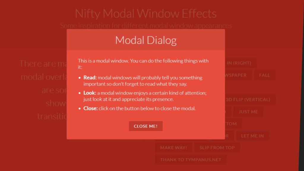 Nifty Modal Window Effects
