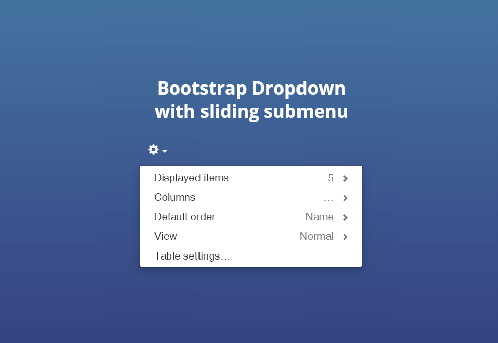 Bootstrap Dropdown Slidemorph Menu