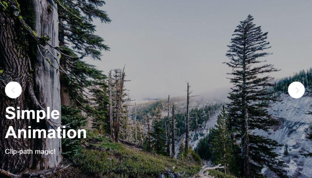 Clip path revealing Simple JavaScript JS image slider