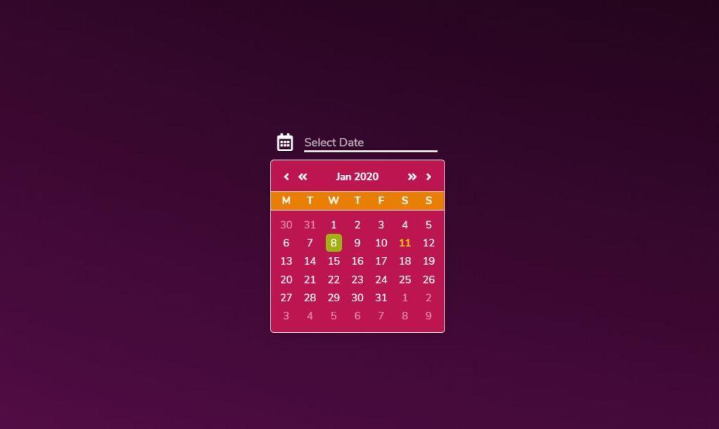 Date Picker Pure JS Component