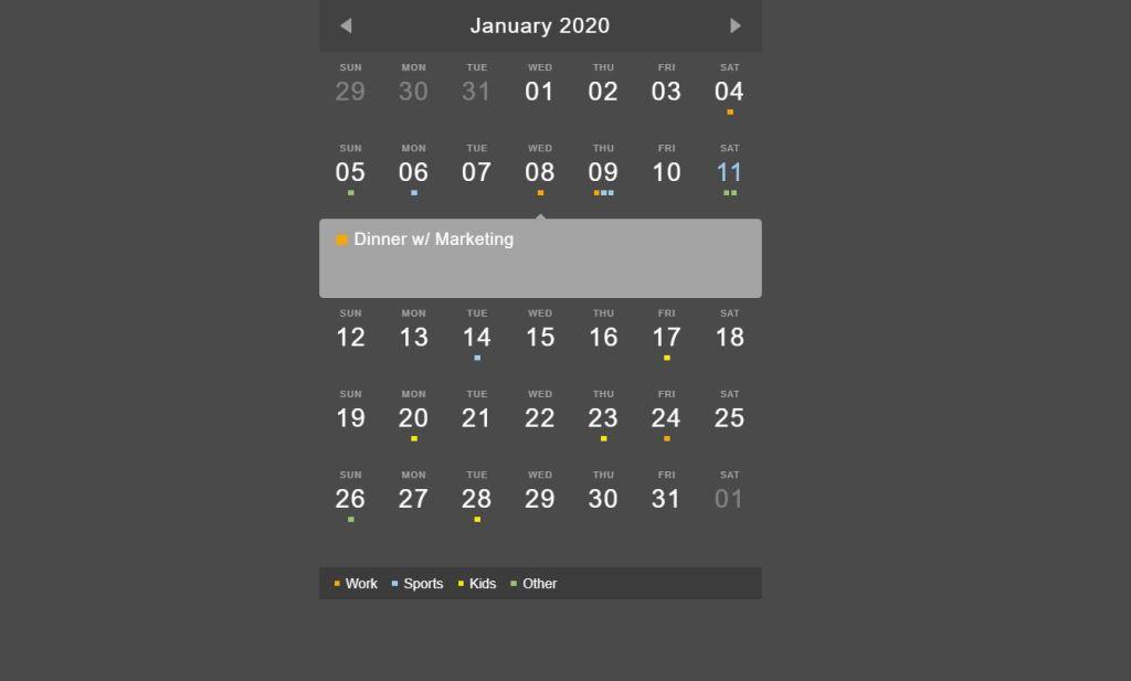 Event Calendar Date picker Widget