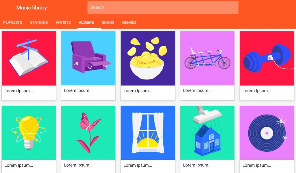 Flexbox Google Play Music Website
