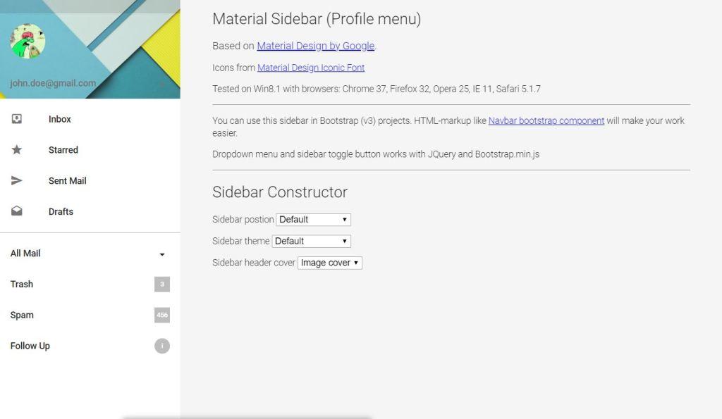 Material design JavaScript Sidebar Menu