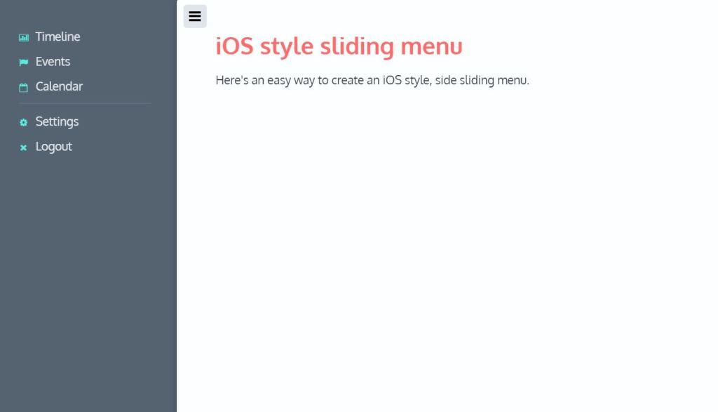 iOS Style JavaScript Sliding menu