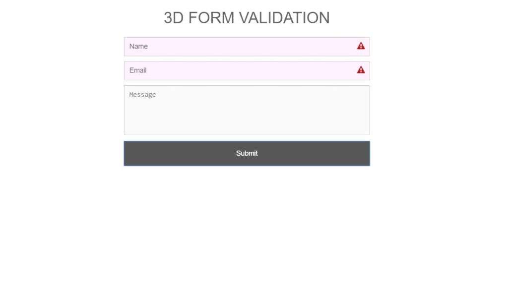 3D JavaScript Form Validation