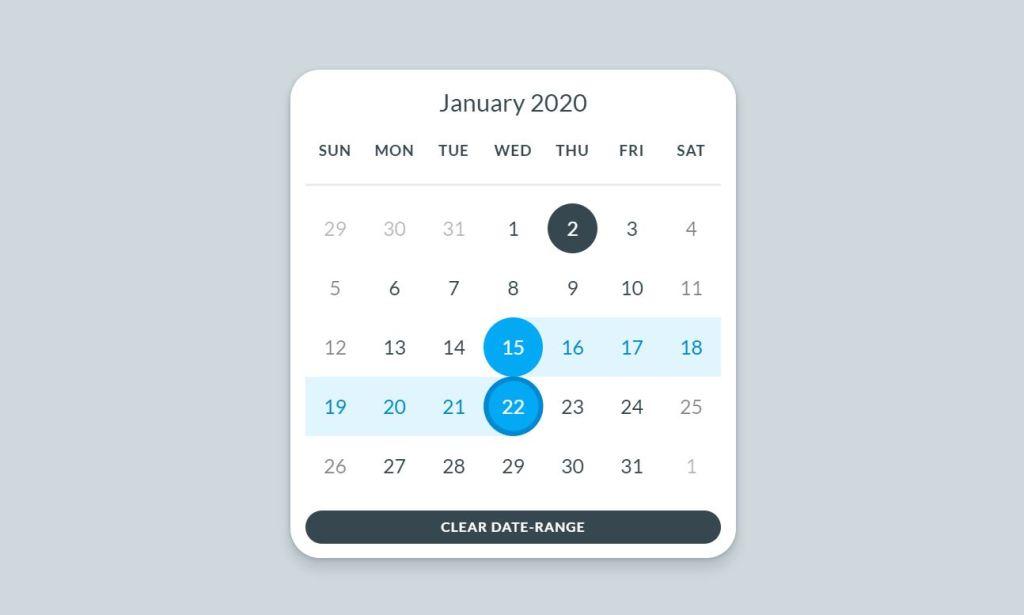 JavaScript/JS Calendar UI Design example