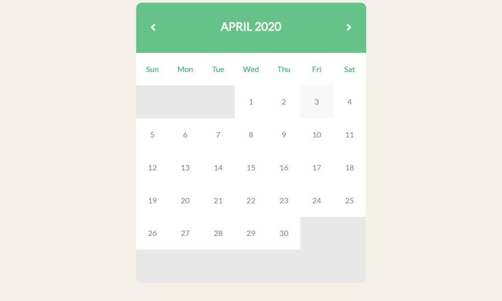 JavaScript/JS website Calendar