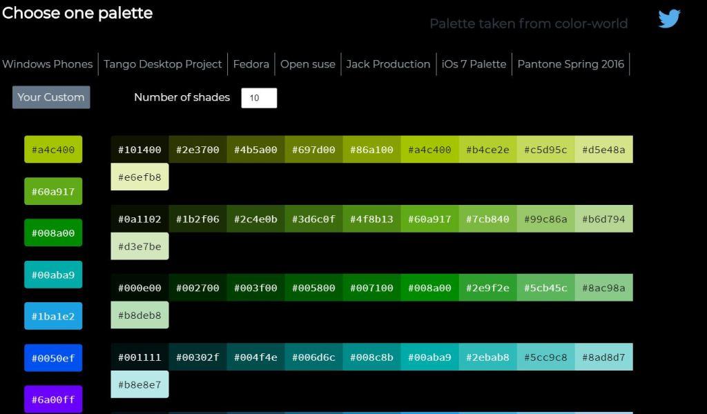 JavaScript/JS Color Palette with Shades