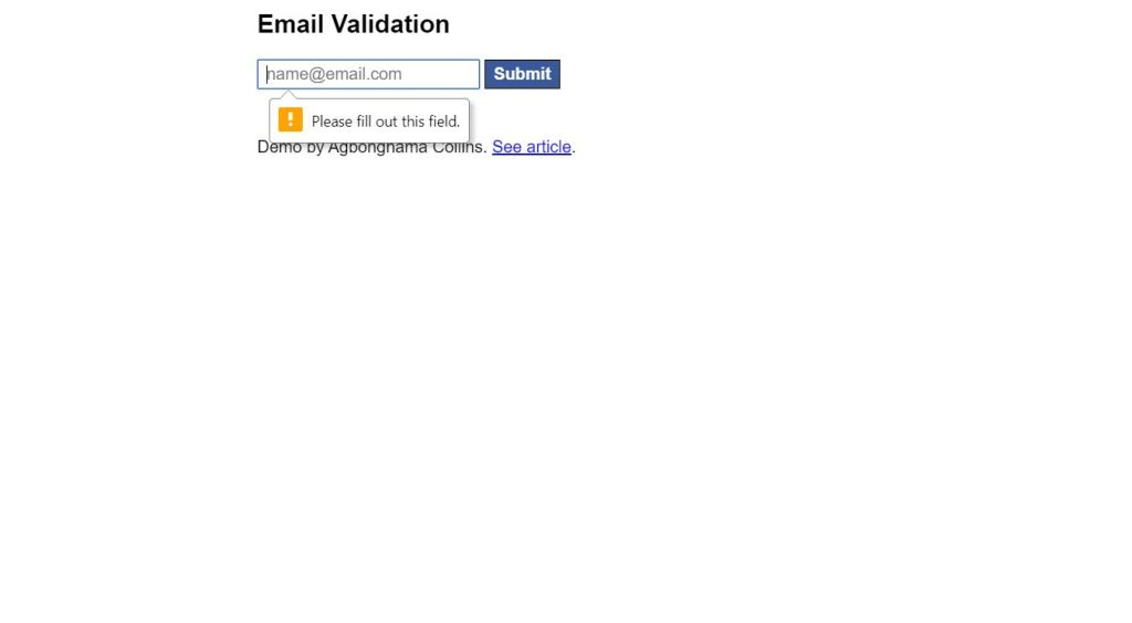 Simple Email Validation Example