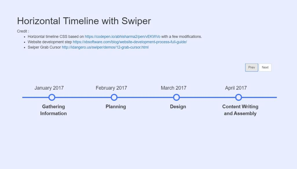 JavaScript/JS Horizontal Timeline with Swiper