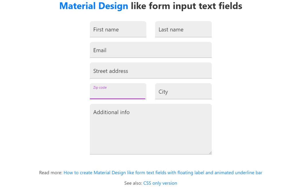 Material Design JavaScript Input Text