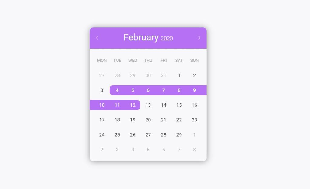 React Date Range Picker Calendars