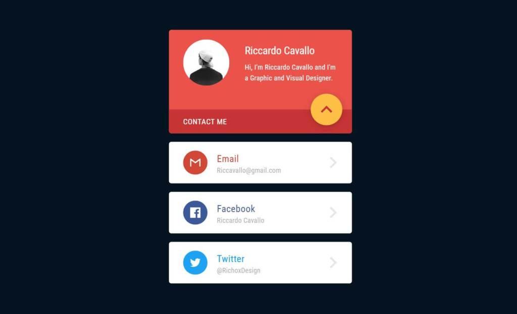 JavaScript Contact Me Card