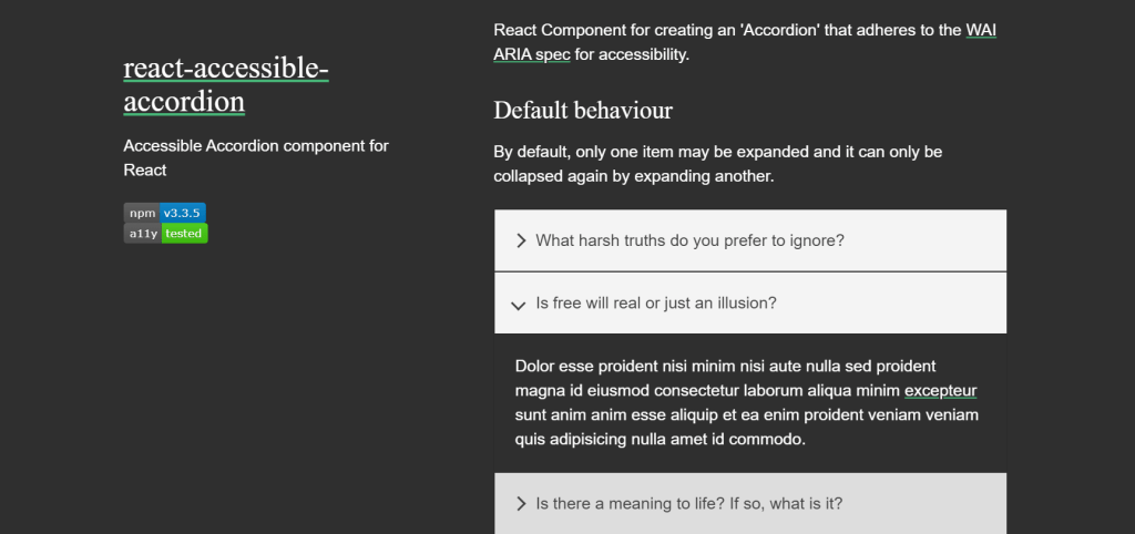 React Accessible Accordions examples