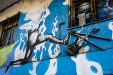 Wall art in Barcelona.