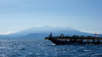 The Trawangan Dive boat, with Lombok's Mount Rinjani in the background.