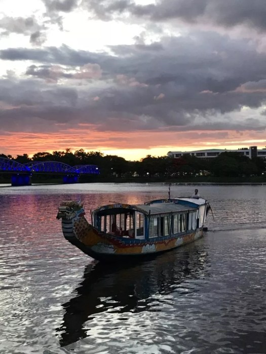 sunset on the perfume river, Hue vietnam