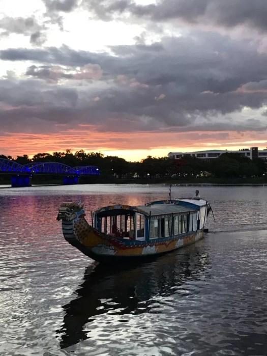 sunset on the perfume river, Hue vietnam