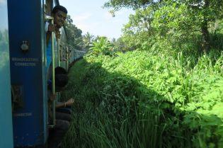 Train Kandy - Ella. Les gens sont assis sur les marches...