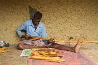 Ouvrier traitant des branches de canneliers pour en extraire l'écorce. Une opération manuelle qui ne peut pas être mécanisée.