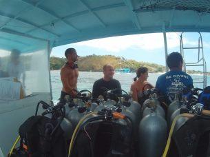 Clément avant la plongée