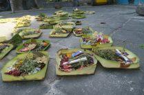 Parterre d'offrandes, dans une ruelle de Kuta