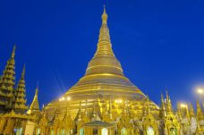 """La pagode durant """"l'heure bleue"""", cette transition entre le jour et la nuit"""
