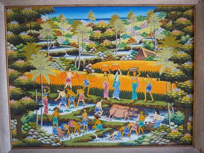 Peinture typique, exposée au musée d'Ubud
