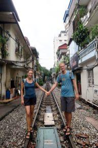 La ligne de train de la gare d'Hanoï qui traverse la ville