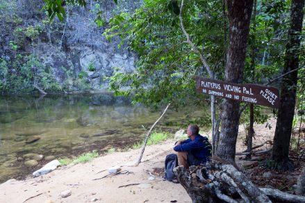"""Même à la """"piscine de l'ornithorynque"""" de notre camping, pas de chance..."""