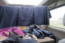 Système-D à l'arrière du campervan pour faire sécher les affaires...