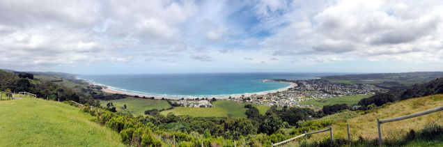 Panorama de Apollo Bay, le Marriners lookout