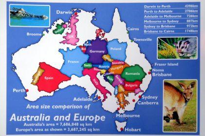 La taille de l'australie comparée à l'Europe