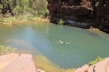 Julien se baigne (encore!) dans les Fortrescue falls