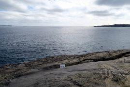 """Les """"blowholes"""" sont juste la, l'espèce de fissure dans la roche. Par forte marée, l'eau remonte ici. On entend la mer gronder en dessous..."""