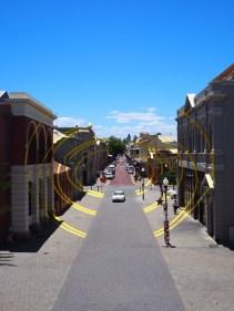 Peinture / illusion d'optique dans la rue principale de Fremantle