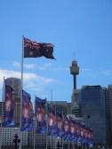 Le drapeau Australien flottant à Darling Harbour
